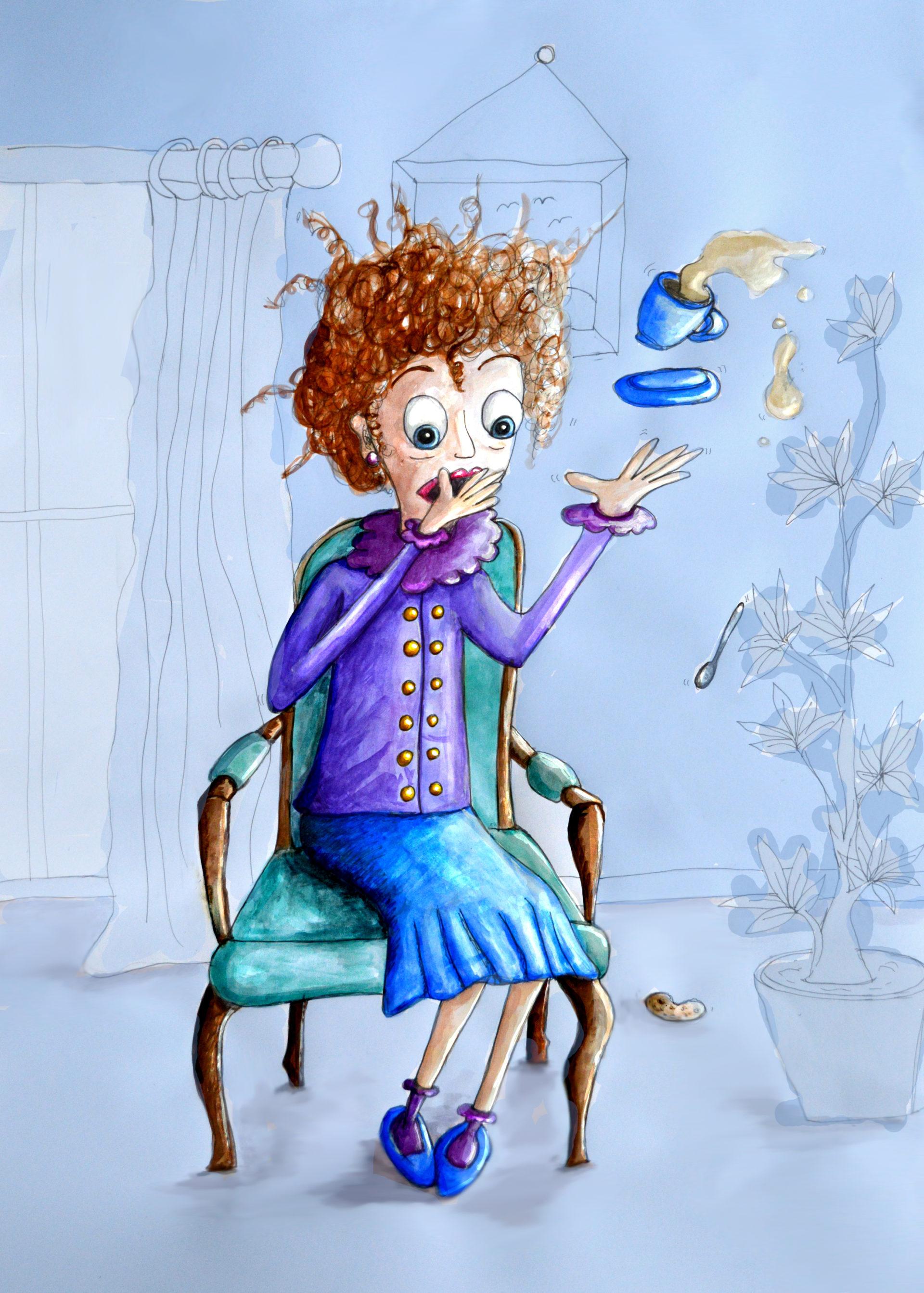Miss Humbly Having Tea